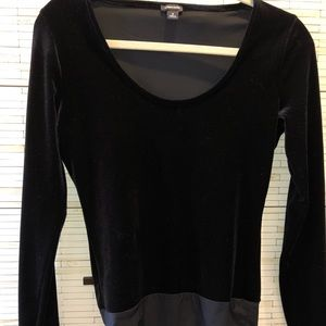 J crew black velvet body suit.